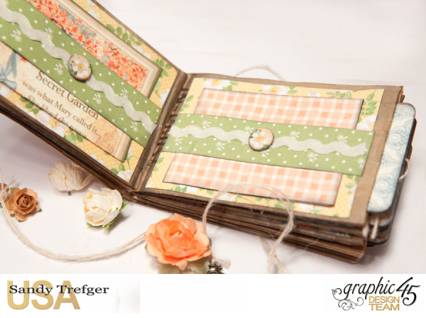 Paper Bag Mini Album  Secret Garden  Tutorial by Sandy Trefger  Product by Graphic 45  Photo 005
