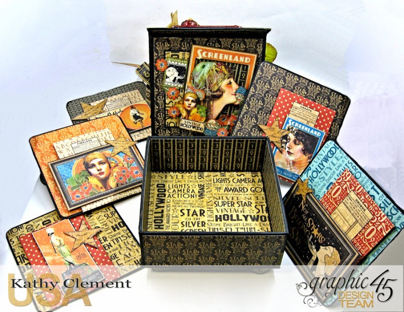 Born to Be a Star Upcycled Photo Box  Vintage Hollywood  by Kathy Clement  Product by Graphic 45  Photo 17