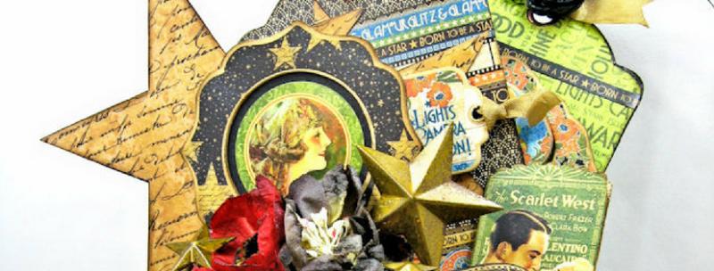Kathy Clement Born to be a Star Box Tags Upcycle Graphic 45 Mixed Media