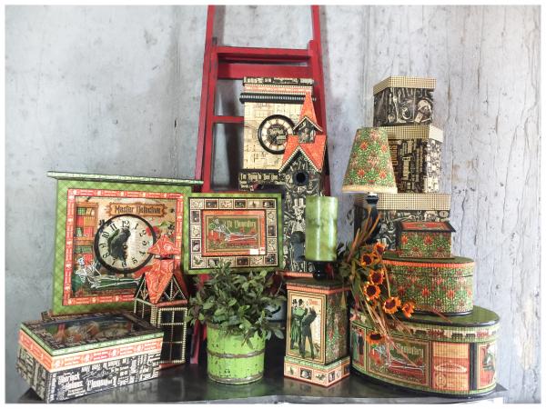 Master Detective Home Decor Graphic 45 Blog Recap Frame  clock  lamp  hat boxes  jewelry box  birdhouse