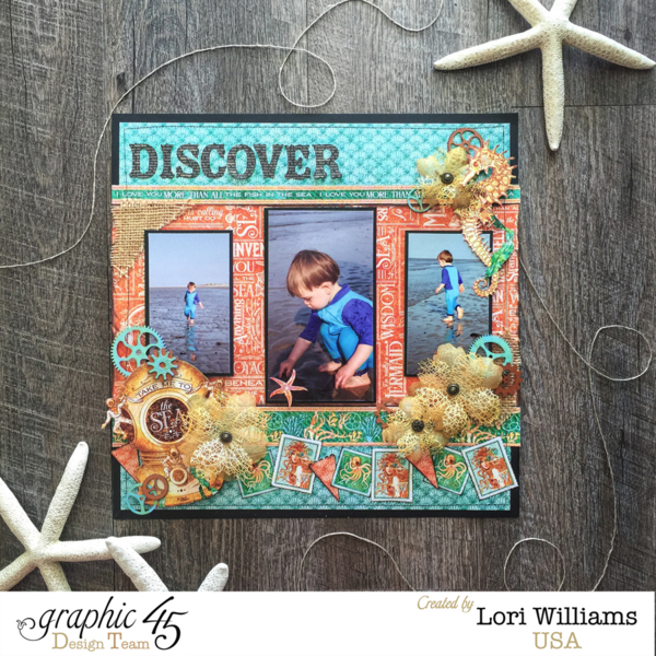 Voyage Beneath the Sea  Graphic 45  Layout  Discover  Lori Williams  Beach  Top Layouts 4