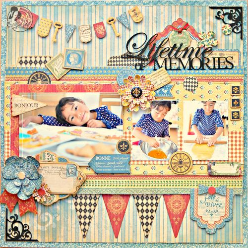 French Country  Graphic 45  Layout  Maiko Miwa  Lifetime of memories  Top Layouts 12