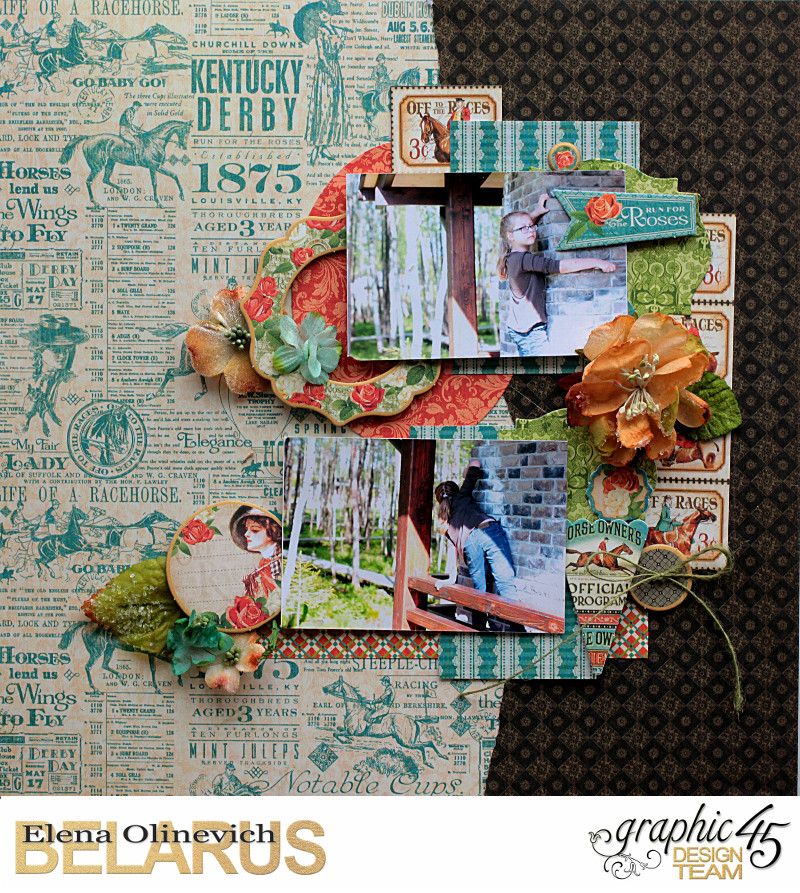 Double Layout  Off to the Races  by Elena Olinevich  product by Graphic45  photo2