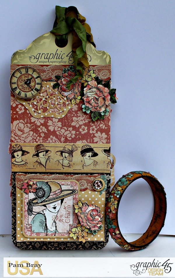 Graphic 45 A Ladies' Diary Upcycled Tag and Bracelet by Pam Bray - Photo 3_5156