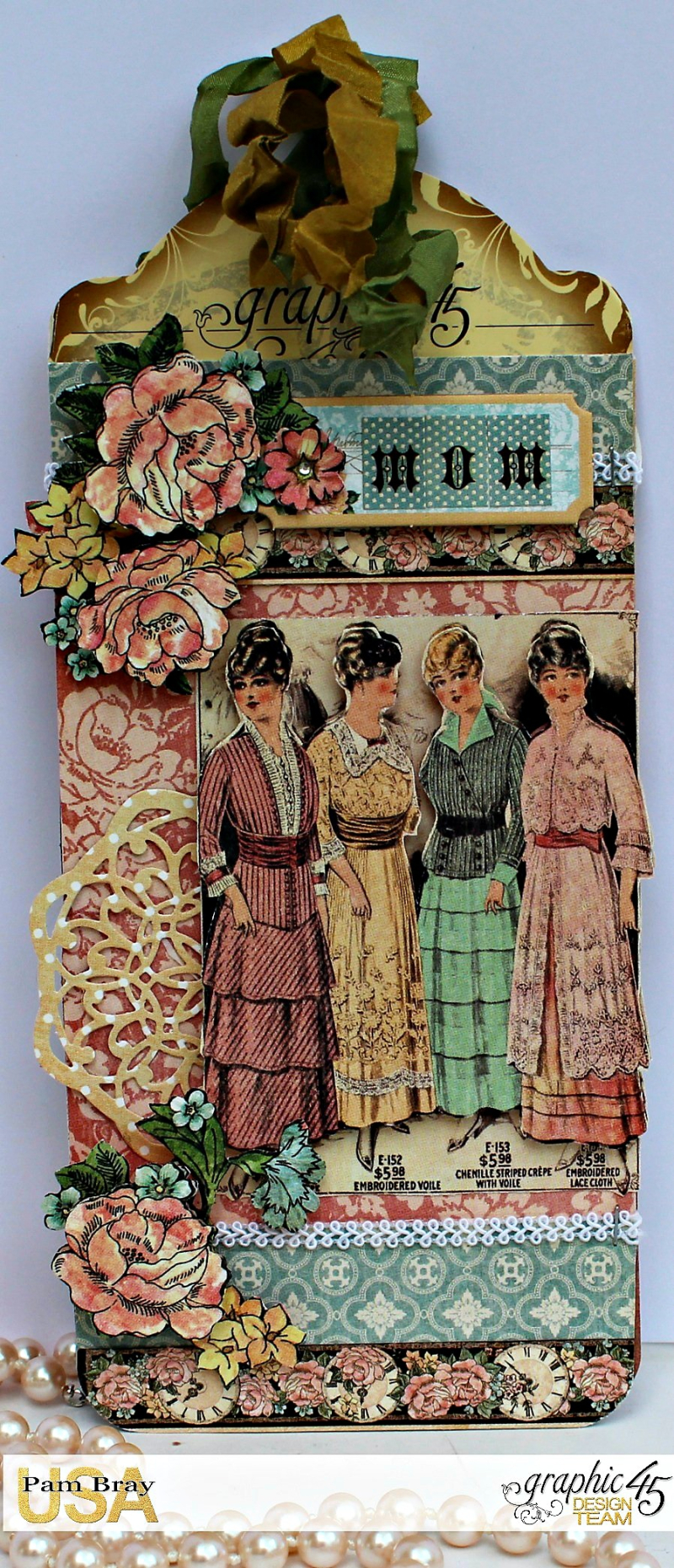 Graphic 45 A Ladies' Diary Upcycled Tag and Bracelet by Pam Bray - Photo 1_5139