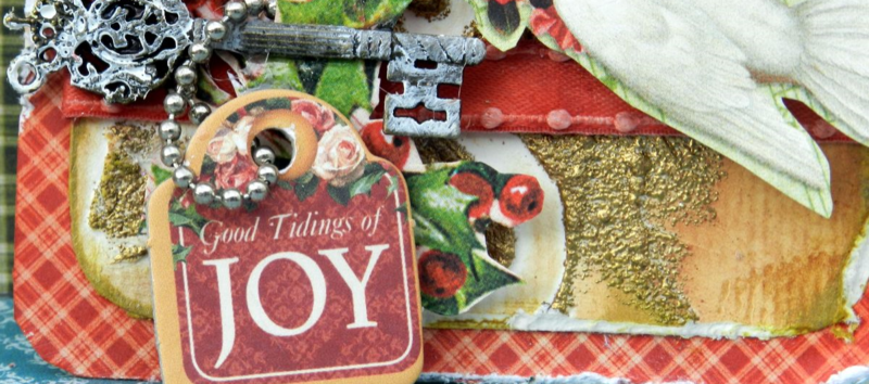 G45 December Project Christmas mixed media tag 3