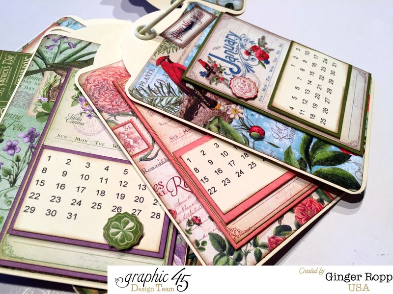 Graphic 45 Time to Flourish Tag Calendar Closeup