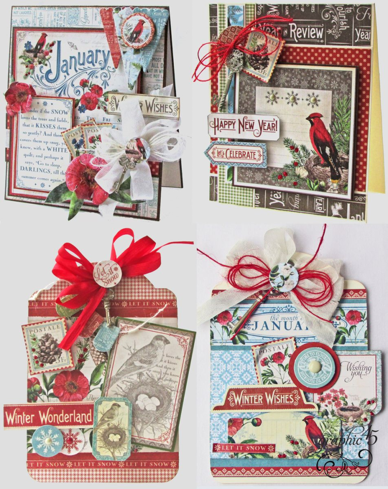 Time to Flourish January Monthly Printable Project Sheet.  Two cards, two tags.  Step by step tutorial by @graphic45 Happy New Year, Winter Wishes, Let's Celebrate