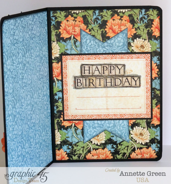 Happy birthday card from Annette using Graphic 45 Artisan Style! Click to see tutorial