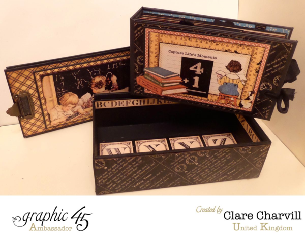 A perfect classroom creation by Clare using An ABC Primer! Pencil box with a surprise mini inside! #graphic45