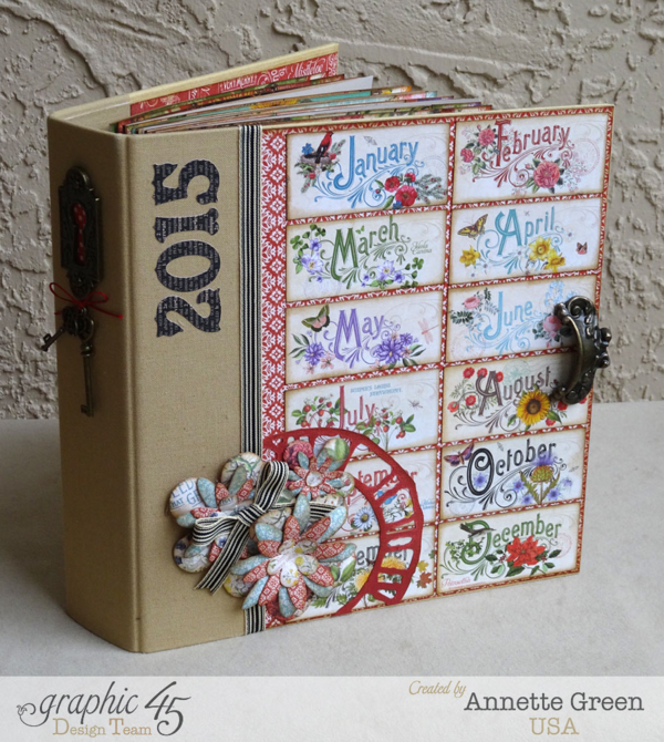 2015 Time to Flourish Calendar by Annette Green. Amazing way to use our new Mixed Media Album! #graphic45