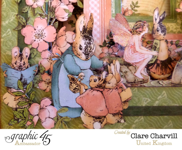 Gorgeous fussy cutting on this Once Upon a Springtime shadowbox by Clare Charvill! Wow #graphic45