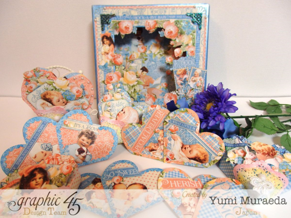 Look at all these goodies in Yumi's Precious Memories shadowbox! Amazing cards, hearts, beautiful sentiments, and more! #graphic45