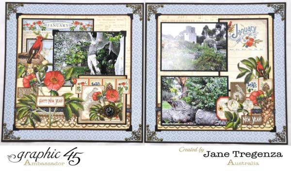 Janurary Layout by Jane Tregenza using Time to Flourish #graphic45