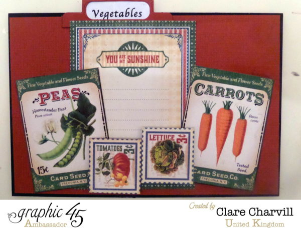 """Vegetables"" section of Clare's Home Sweet Home recipe box #graphic45"
