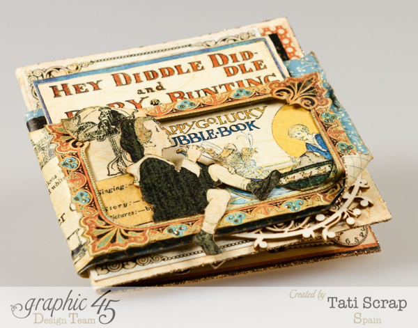 """Hey Diddle Diddle"" - a gorgeous ABC Primer card by Tati Scrap. Make it yourself with her tutorial #Graphic45"