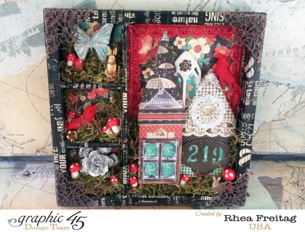 Learn how to make this gorgeous shadowbox with a tutorial from Rhea using Raining Cats & Dogs #graphic45