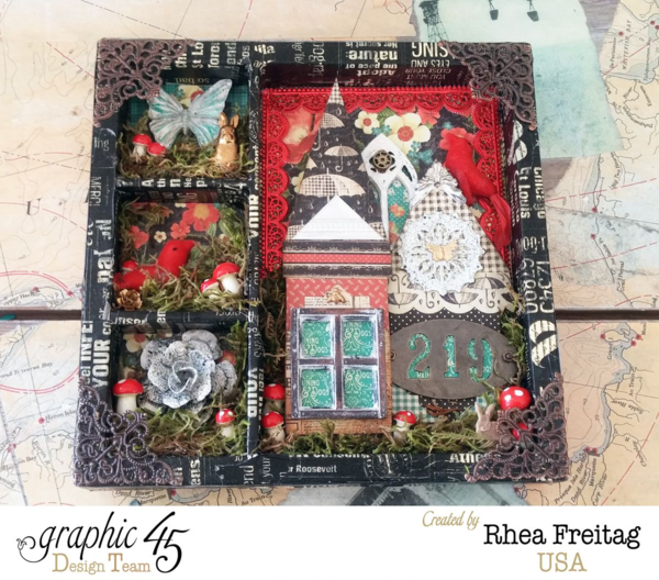 Make this amazing shadowbox with a tutorial by Rhea using Raining Cats & Dogs #graphic45