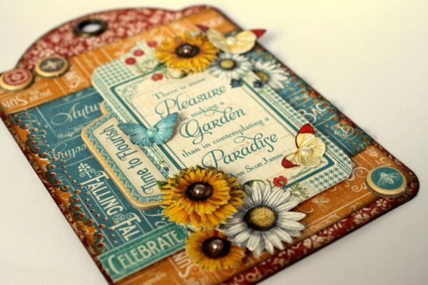 Learn how to make this Time to Flourish tag with a tutorial from Romy #graphic45