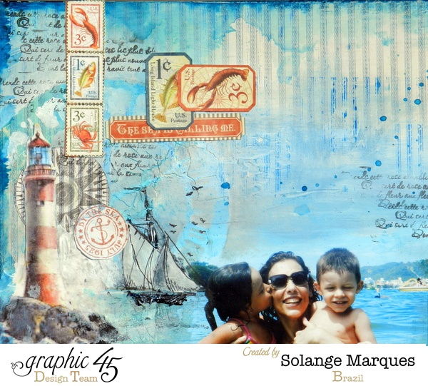 Love how the photo just floats on this gorgeous By the Sea layout by Solange #graphic45
