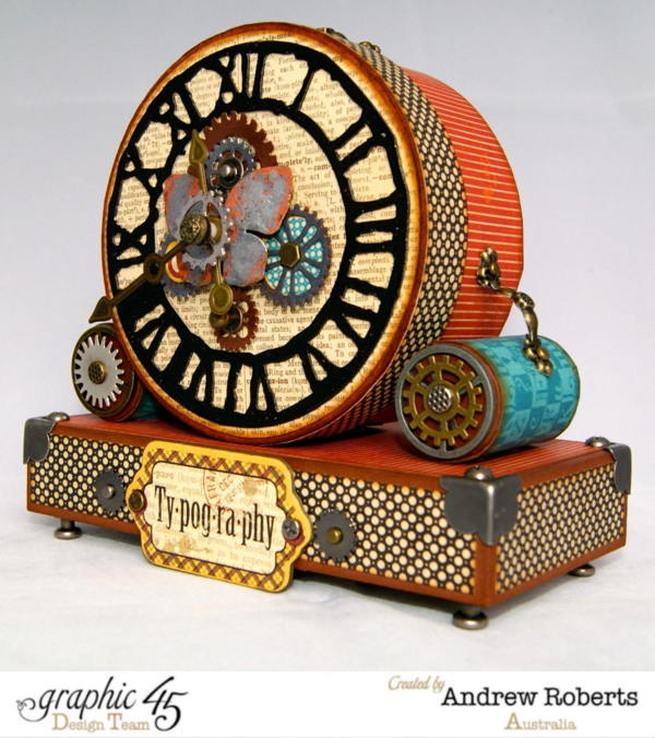 Love the butterfy and metal pieces on this awesome Typography clock by Andrew #graphic45