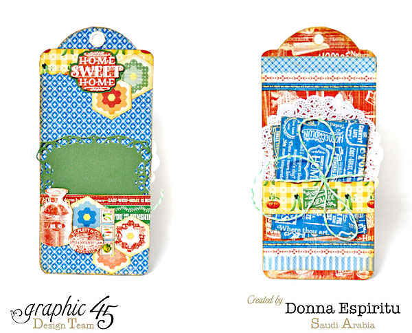 Gorgeous tags in Donna's Home Sweet Home tag mini album #graphic45