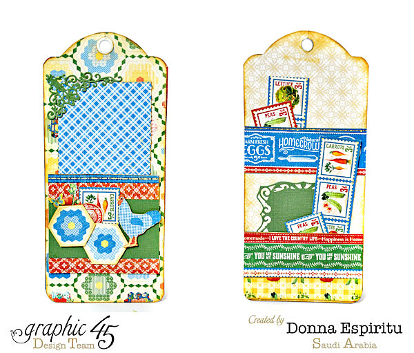 Love how Donna uses the quilting pattern on these Home Sweet Home tags in her mini album #Graphic45
