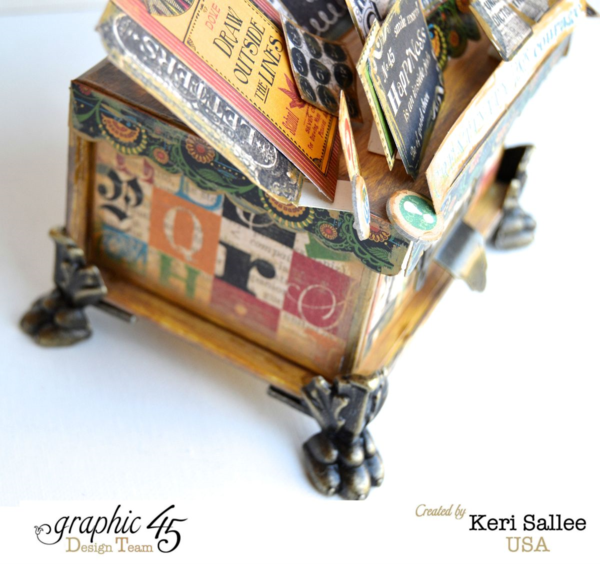 Love how Keri used our Antique Brass Claw Feet for this Typography Idea box using our ATC Book Box #graphic45