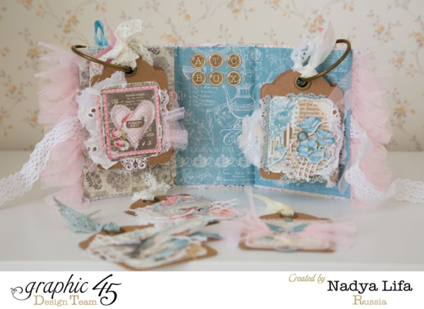 Love the fabric tags and gorgeous details in this Botanical Tea ATC Book Box by Nadya - learn how to make one yourself! #graphic45