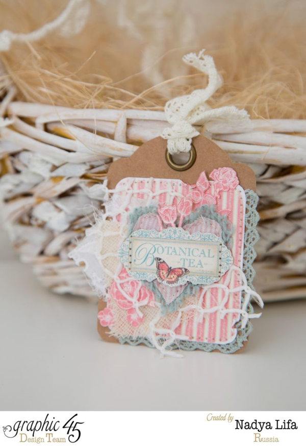 Love thie layered Botanical Tea tag from Nayda. Beautiful colors, fabric, and more! #graphic45