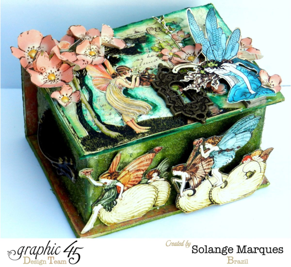 Try the tutorial for this gorgeous Mixed Media Once Upon a Springtime ATC Box by Solange Marques #graphic45