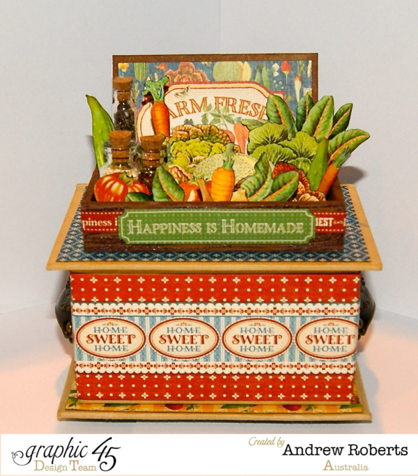 Gorgeous Farm Fresh ATC Book Box by Andrew using Home Sweet Home. Love the fussy cut veggies! #graphic45