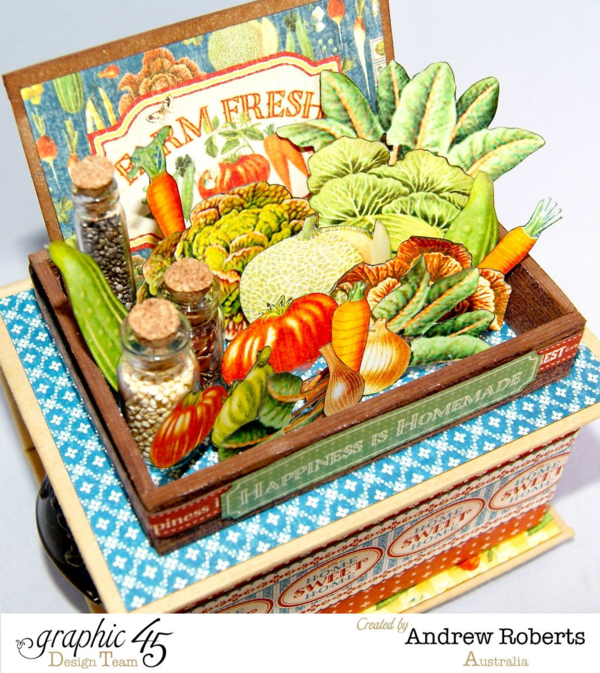 Love the fussy cutting and vials in this amazing Farm Fresh ATC Book Box by Andrew using Home Sweet Home #graphic45