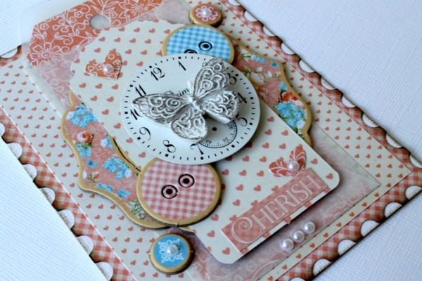 """Beautiful butterfly and chipboard buttons on this Precious Memories """"Cherish"""" card by Romy #graphic45"""