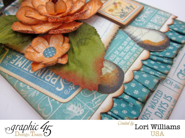 Beautiful layers on this gorgeous April Time to Flourish tag by Lori Williams #graphic45