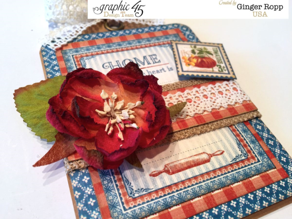 """Vivid colors on this """"Home Is Where the Heart Is"""" tag using Home Sweet Home by Ginger Ropp #graphic45"""