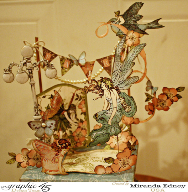 It's a fairy garden on this ATC Book Box! Created by Miranda Edney using Once Upon a Springtime #graphic45