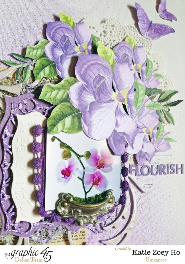 "Stunning fussy cutting on this ""Flourish"" layout from Katie using Time to Flourish #graphic45"