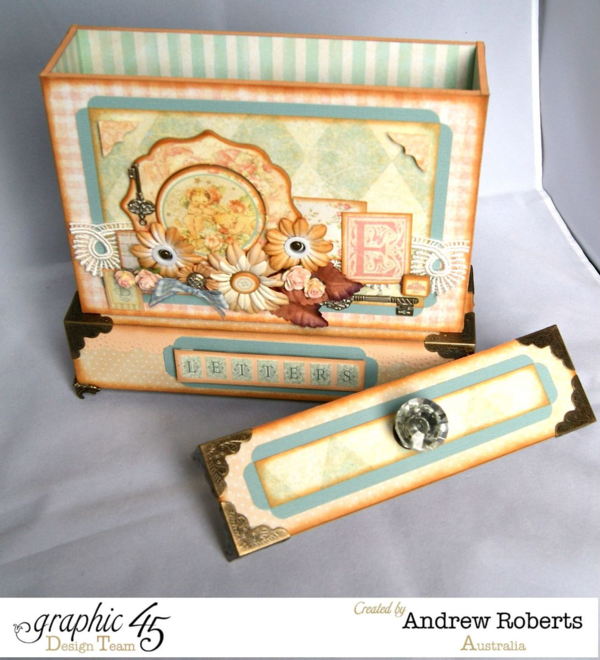 Love this letter holder from Andrew using Baby 2 Bride - keep those special notes safe! #graphic45