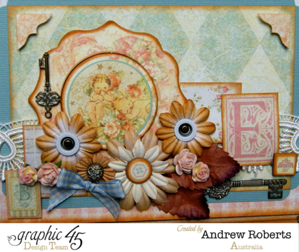 Beautiful embellishments on this letter's keepsake box by Andrew using Baby 2 Bride #graphic45
