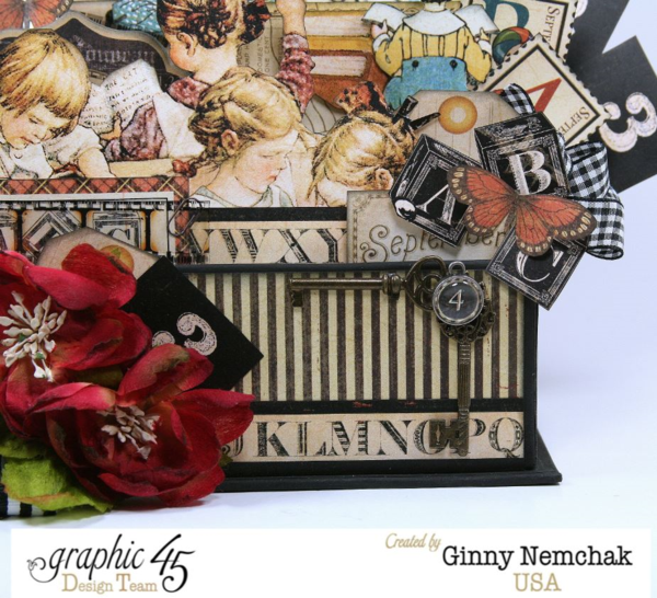 ABC Primer Book Box 3d Collage by Ginny Nemchak! Love the way she used G45 staples with the keys and how the whole scene is bursting from a Book Box! #graphic45