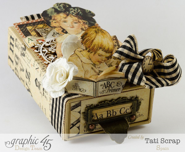 Learn the ABCs of altered art with Tati Scrap, a small Matchbook Box, and An ABC Primer #graphic45