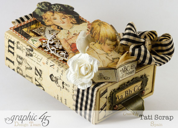 What beautiful embellishments and dimension on Tati Scrap's An ABC Primer small matchbook box #graphic45