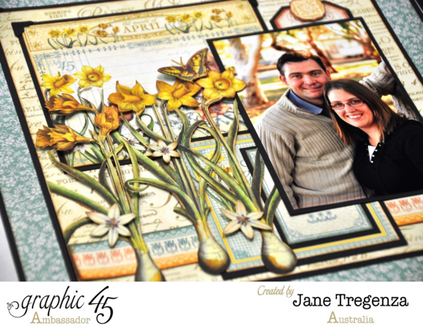 Incredible fussy cut flowers on Jane's incredibly inspiring double layout using Time to Flourish #graphic45