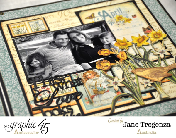 Love the dimension Jane's incredibly inspiring April double layout using Time to Flourish #graphic45