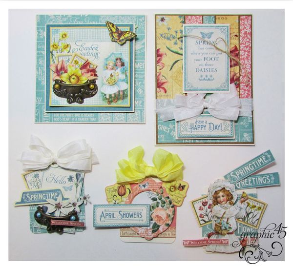 April Time to Flourish Cards and Tags Project Sheets by Gloria! #graphic45