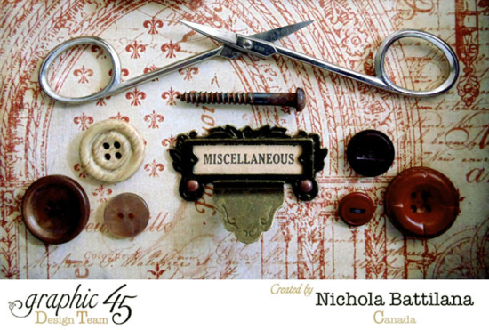 Amazing details in this French Country curio cabinet by the fabulous Nichola. What fun buttons and baubles! #graphic45
