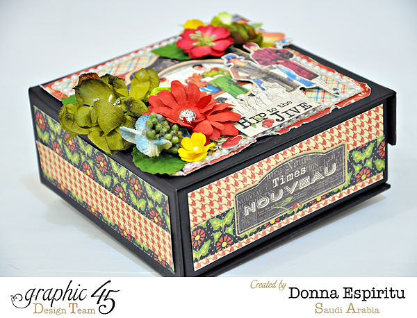 A beautiful Times Nouveau mixed media box by Donna. Gorgeous florals and ribbon in this! #graphic45