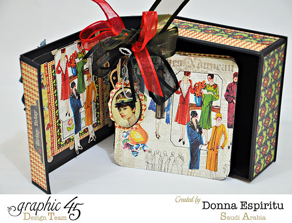 Awesome album in this beautiful Times Nouveau mixed media box by Donna. Gorgeous florals and ribbon in this! #graphic45