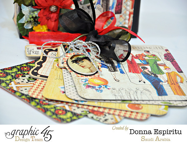 The fabulous mini in this beautiful Times Nouveau mixed media box by Donna. Gorgeous florals and ribbon in this! #graphic45